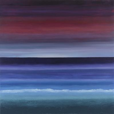 Coastal Sunset. darkening ,red sky,sunsetting over varied blues of ocean